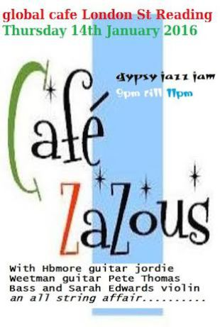 Cafe Zazous gypsy jazz Reading poster Pete Thomas